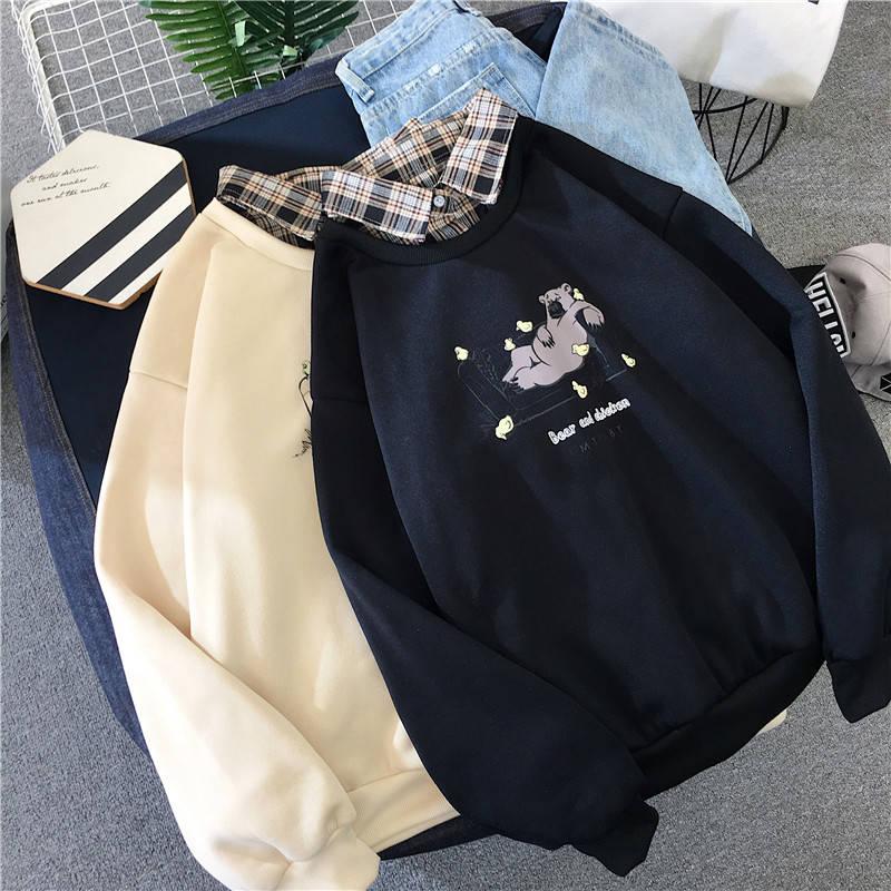 Cute Bear oversized Kawaii women sweatshirt fashion pullovers ladies plus size tops hoodie casual ladies korean style streetwear 1
