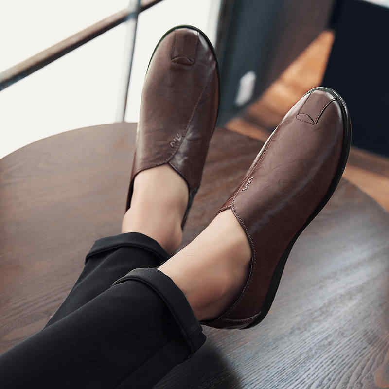 Mùa Xuân Người Giày Da PU Nam Moccasin Shoes Giày Da Thời Trang Nam Ý Nam Cho Nữ Thoải Mái Lái Xe Giày