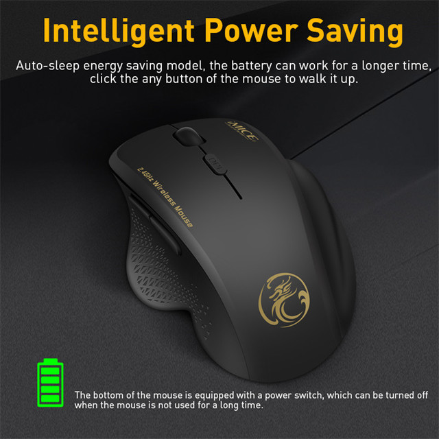 Wireless Mouse Ergonomic Computer Mouse PC Optical Mause with USB Receiver 6 buttons 2.4Ghz Wireless Mice 1600 DPI For Laptop 2