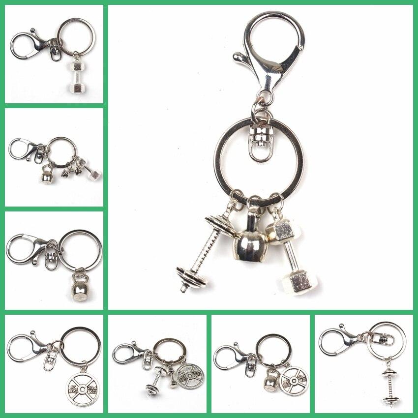 New Hot Keychain Mini Dumbbell Discus Barbell Keychain Charm Fitness Charm Keychain Fashion Designer Gift Coach Souvenir Friend