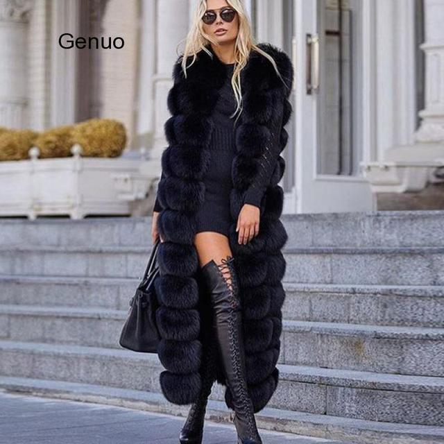10-section Luxury Faux Fox Fur Winter Vest Jacket Sleeveless Thick Warm Horizontal Striped Long Style Fluffy Fake Fur Overcoat 5