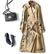 Long Trench Coat Women Fashion Graffiti Print Elegant Designer Autumn Classic Double Breasted Women Khaki Trench Coat Jacket