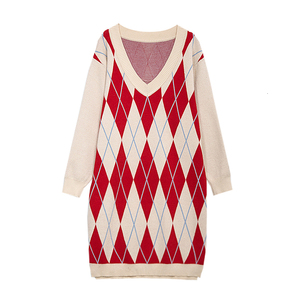 Image 5 - Plus Size Argyle Pattern V Neck Long Sweater 2019 Autumn Winter Loose Patchwork Knitted Dress Oversize Ladies Knitwear Jumpers