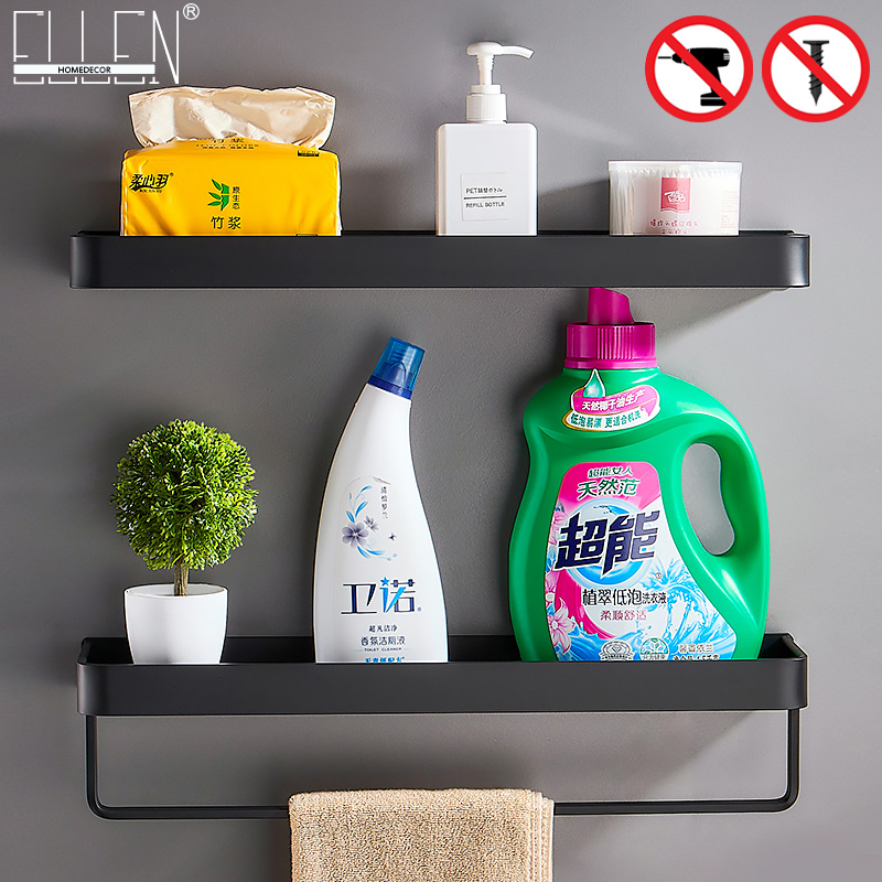 Black Bath Shelves Bathroom Shelf Organizer Nail-free Shampoo Holder Shelves  Storage Shelf Rack Bathroom Basket Holder EL1018 1