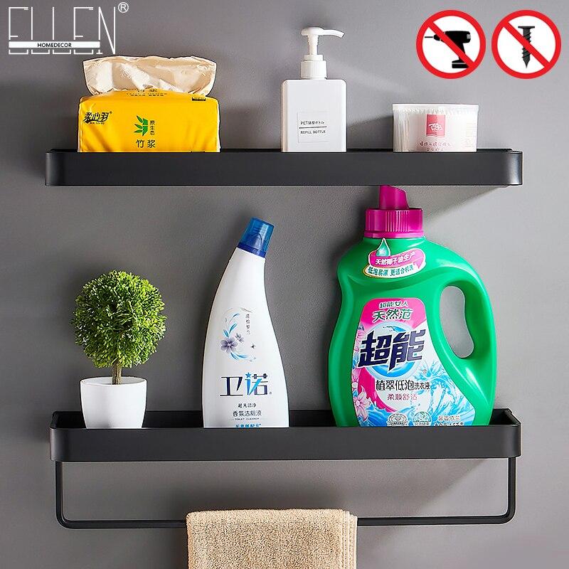 Black Bath Shelves Bathroom Shelf Organizer Nail-free Shampoo Holder Shelves  Storage Shelf Rack Bathroom Basket Holder EL1018