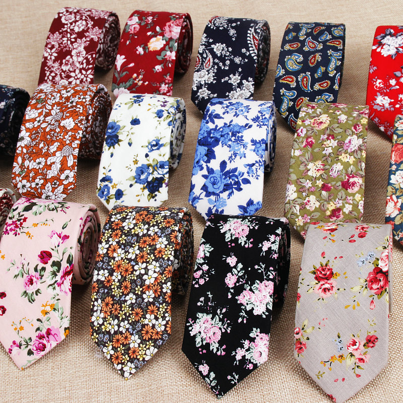 Classic Men's Flower Ties Handmade Cotton Tie For Men 6CM Narrow Floral Neckties Gift Wedding Party Casual Gravatas Paisley Tie