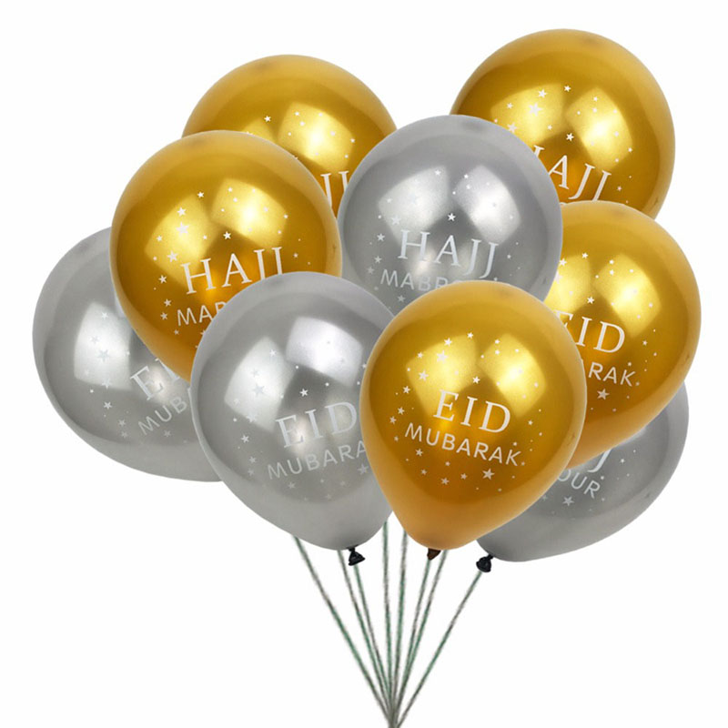 Image 4 - 12pcs/lot happy eid Mubarak latex balloons Muslim Eid Al Fitr  hajj party decoration supplies globos Islamic Ramadan decor baloonParty  DIY Decorations