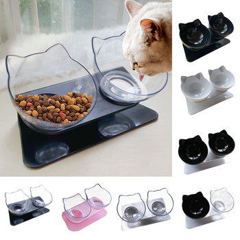 Non-slip Pet Cat Double Water Bowls With Raised Stand Pet Food And Water Bowls For Cats Dogs Feeders Pet Drinking Bowl 1