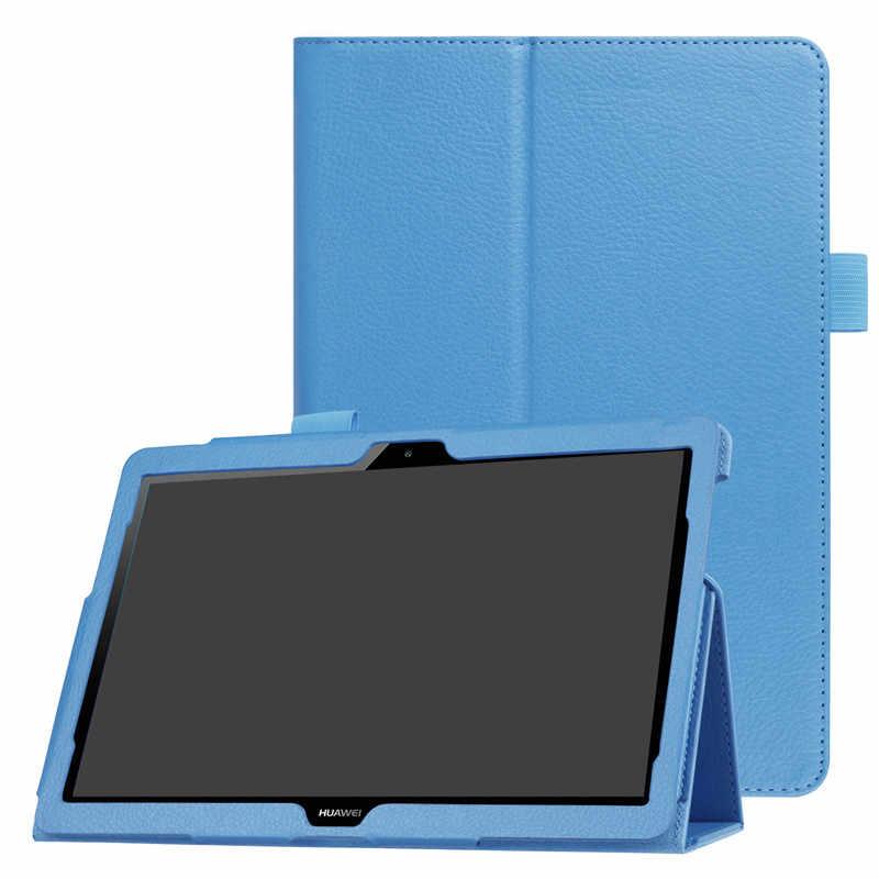 """لهواوي MediaPad T3 10 حافظة 9.6 """"AGS-L09 W09 الذكية اللوحي غطاء الوجه حامل بو الجلود ل الشرف بلاي الوسادة 2 9.6 حامي الغلاف"""