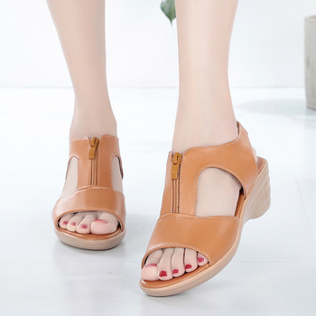 Women Old Mother Laides Female Sandals Shoes Cow Genuine Leather PU Beach Summer Cool Zipper   platform sandals ghj8