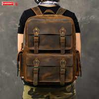 Original Genuine leather Men backpack large capacity crazy horse leather male laptop shoulder bag retro outdoor travel backpacks