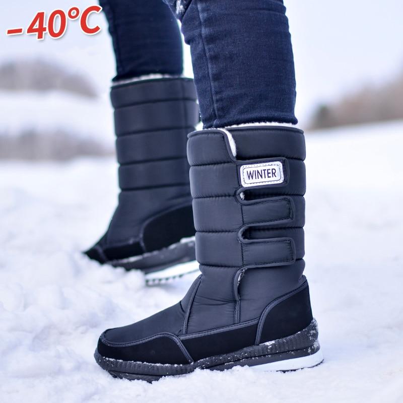 2019 Men Boots Platform Snow Boots For Men Thick Plush Waterproof Slip-resistant Winter Shoes Plus Size 36 - 47