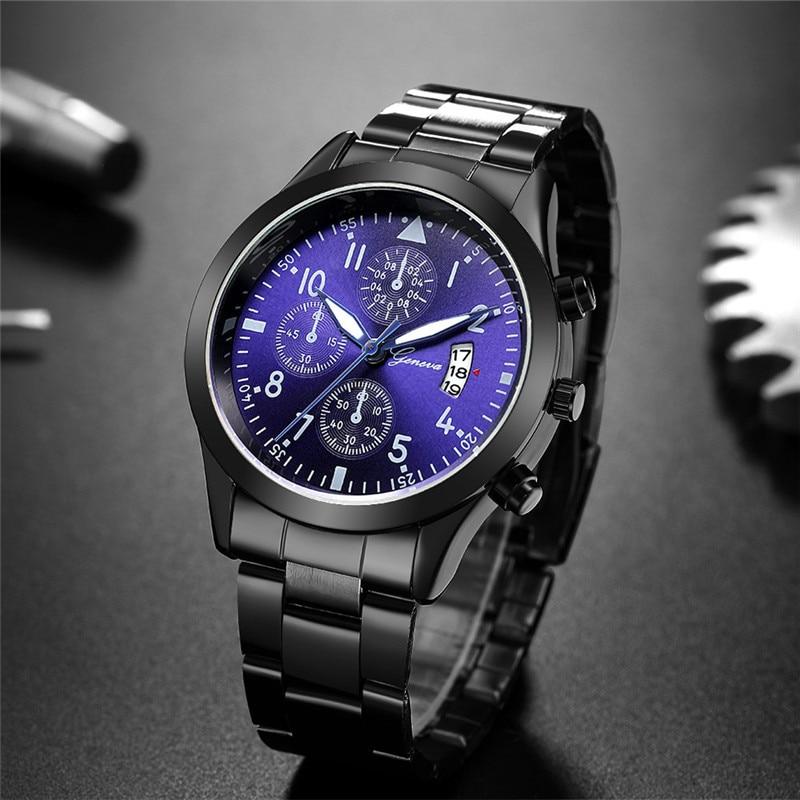 Geneva Watches Men Luxury Men Watches Black Stainless Steel Blue Face Quartz Watch Men Sports Watches Reloj Hombre Horloge Heren