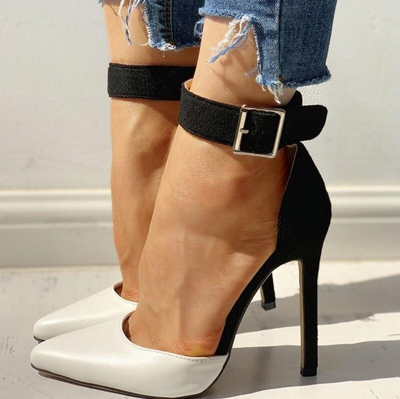Femmes été mince talons hauts 12cm boucle Peep orteil gladiateur sandales bureau évider sandales parti pompes mariage dames chaussures