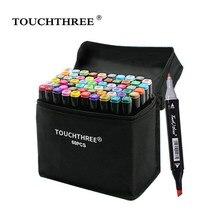 Touchthree 36/48/60/80 cores marcadores conjunto mangá desenho marcadores álcool baseado esboço feltro-ponta escova caneta arte suprimentos