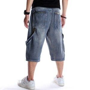 Image 5 - メンズプラスサイズルーズバギーデニムショート男性ジーンズファッションストリートヒップホップロング 3/4 カプリカーゴショーツポケットバミューダ男性ブルー