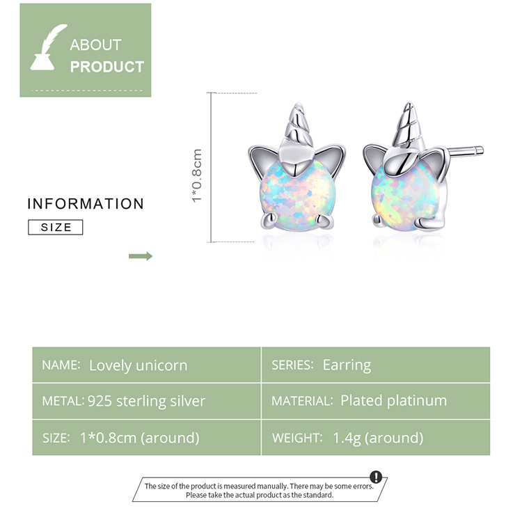 925 Sterling Silver Holographic Unicorn Earrings