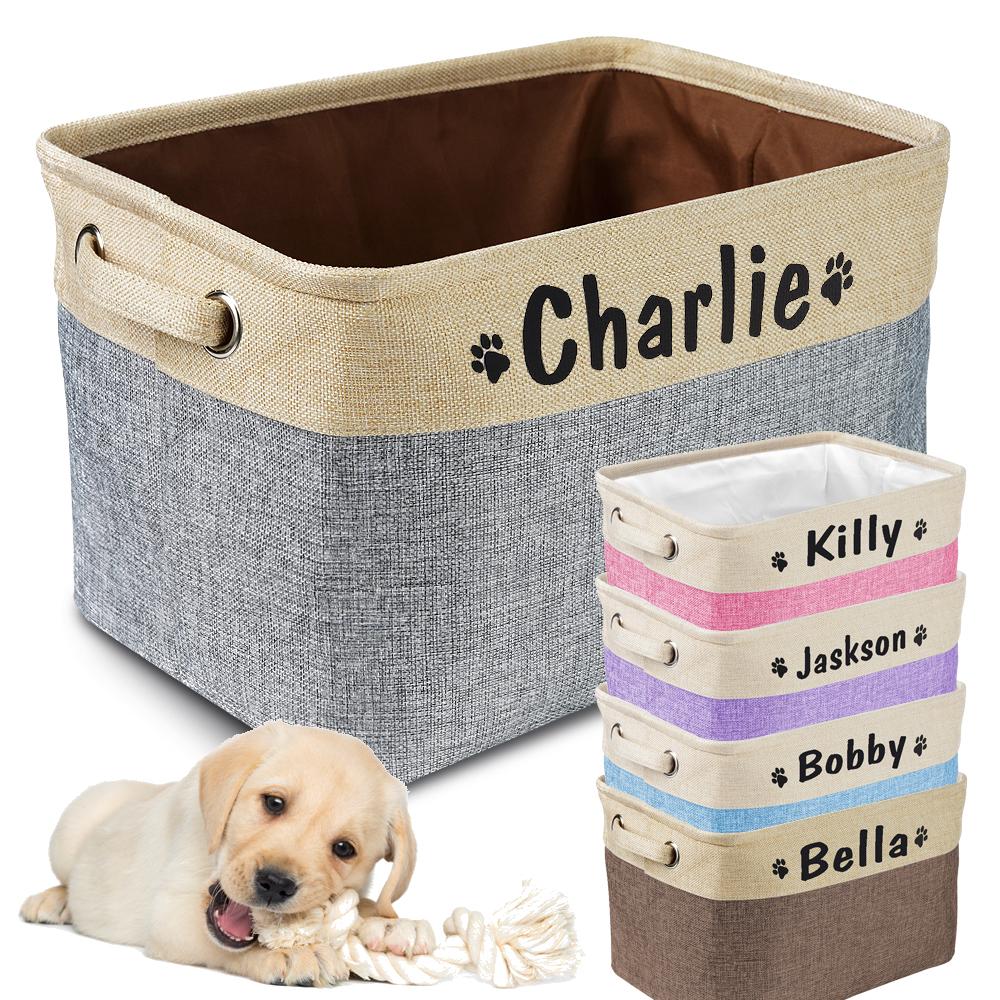 Custom Dog Toys Storage Bins Canvas Collapsible Dog Accessories Storage Basket Bin Pet Organizer Box Perfect For Organizing Toys
