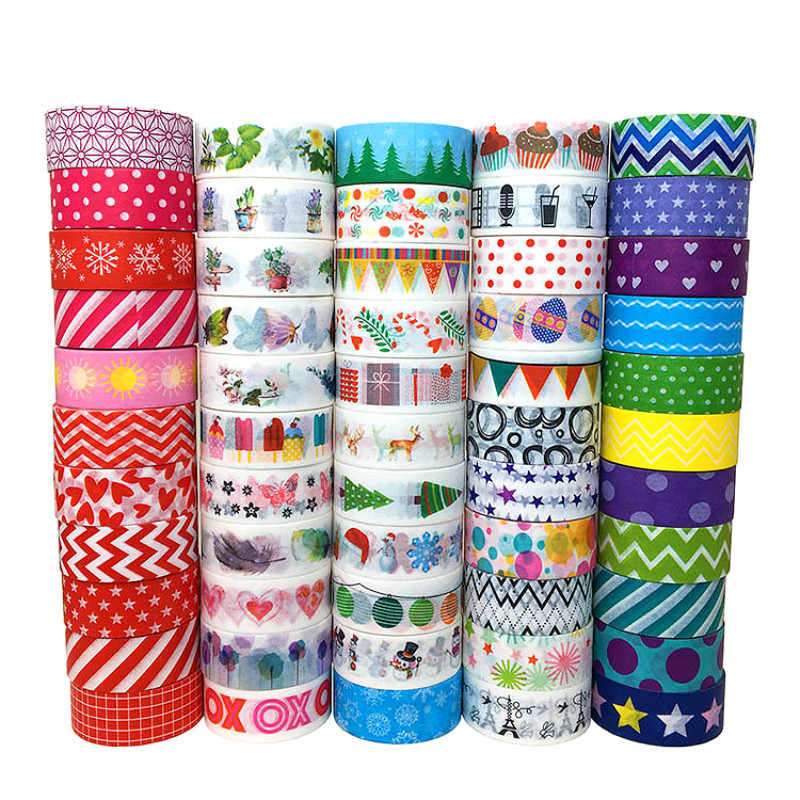 1pcs Multi-color Washi Tape Scrapbooking Decorative Adhesive Tapes Paper Japanese Stationery StOffice Tape Adhesive Tapes