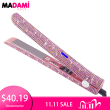 Madami LCD Display Hair Flat Iron Straightener 470F Titanium Floating Plate Hair Curler Crystal Rhinestone MCH Fast Heating Iron
