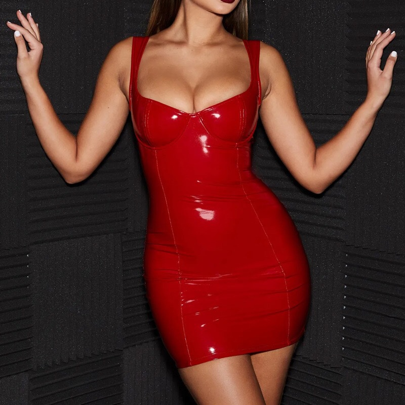 Woman Sexy Pu Leather Dress Wet Look Bodycon Latex Dress Stripper Pole Tube Dress Hot Exotic Dancewear Sexy Mini Dress Clubwear