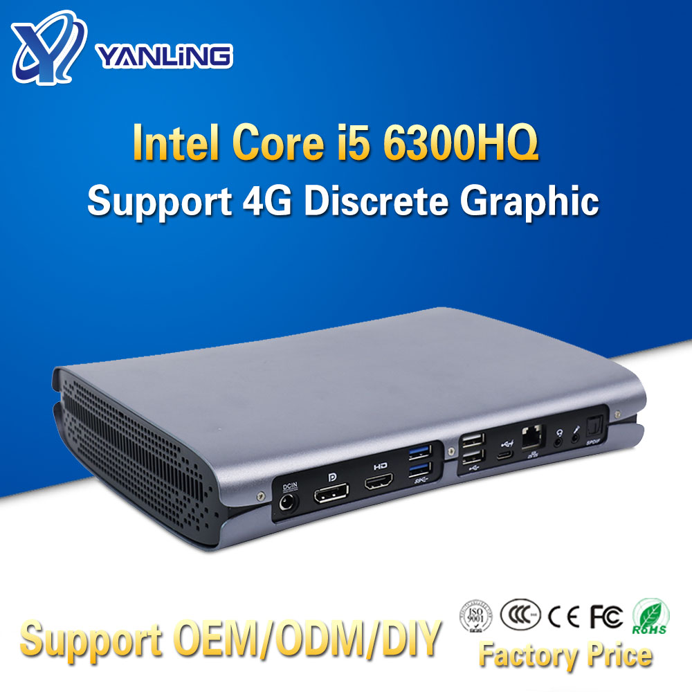 Yanling High End Gaming Computer Skylake Intel Core I5 6300HQ Quad Core Office Mini PC Support GTX960M 4G Discrete Graphic Card