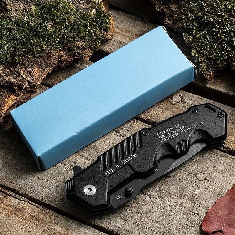 Купить с кэшбэком 200mm 9CR18MOV Blade Quick-opening Folding Knife with Steel Handle Combat Camping Knife Outdoor Survival Hunting Saber
