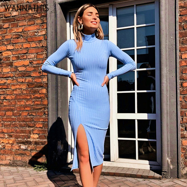 WannaThis Sexy Knee-Length Party Dresses Cotton Ribbed Knitted Turtleneck Solid Split Long Sleeve Autumn Mock Neck Elegant Dress 1