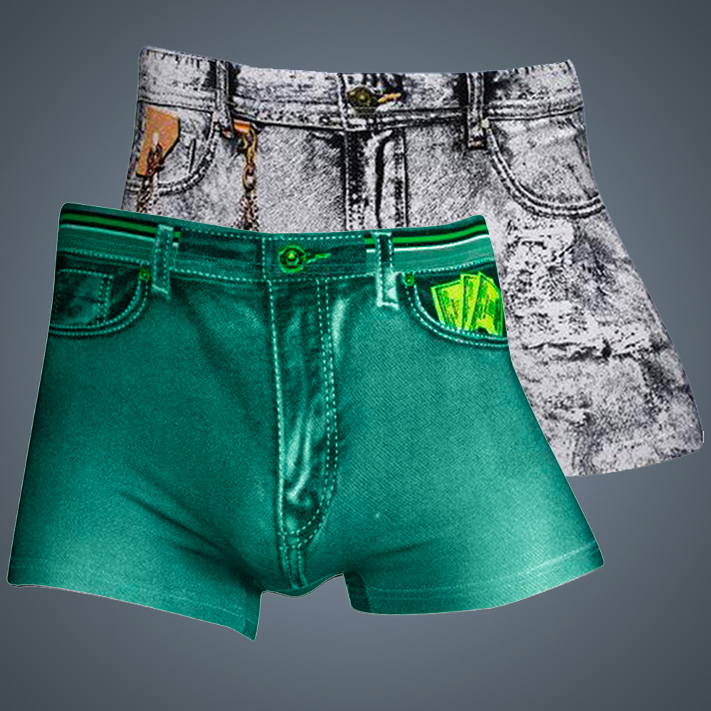 Sexy Underwear Shorts Male Briefs Men Classic Cotton Underpants Men's Denim Printed Stretch Breathable Boxer Pants
