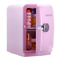 220V /12V Pink 5L Mini Home Car Fridge Mobile Refrigerator Mute Food Grade PP Freezer ABS Aluminum 5 65 Celsius Cold/warm Box