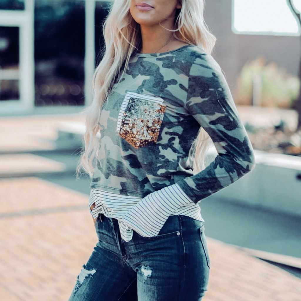 Women sweatshirt Long Sleeve Sequins Pocket Camouflage Splicing Striped  O-Neck Pullover Daily Casual^40