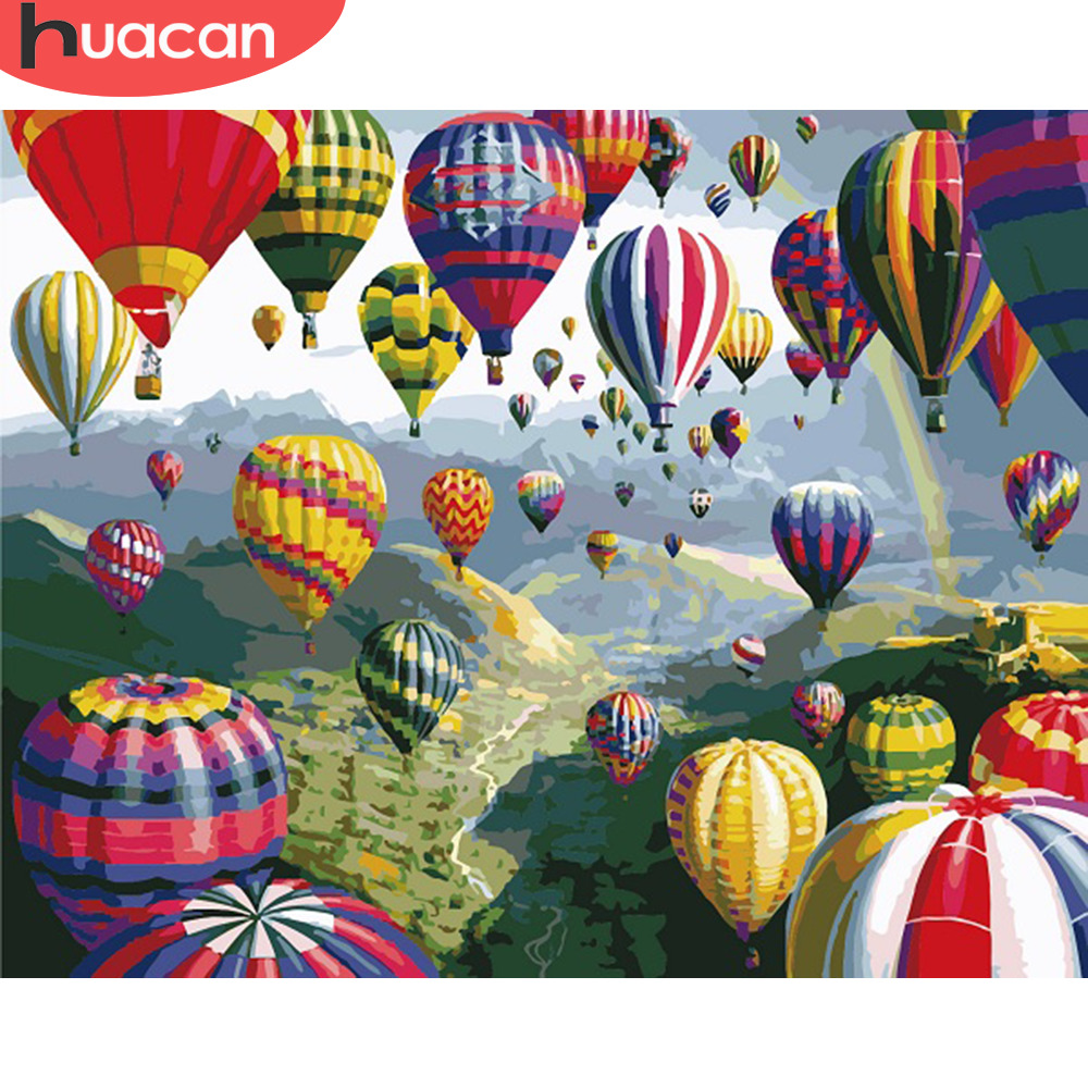HUACAN DIY Oil Painting By Numbers Landscape Kits Canvas HandPainted Gift Pictures Hot Air Balloon Scenery Home Decor
