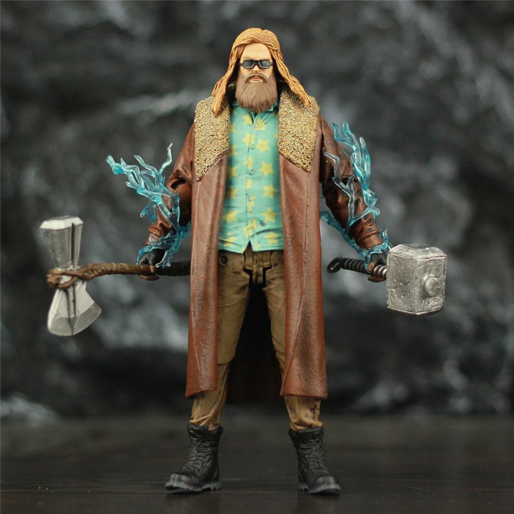 Custom Marvel Endgame Fat Thor 18cm Action Figure Accessory Mjollnir Hammer StormBreake Axe Glasses Avengers 4 Legends Toys Doll