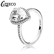 CUTEECO 2019 New Silver Color Heart Big Crystal Wedding Ring for Women Engagement Party Charm Jewelry Valentines Day Gift