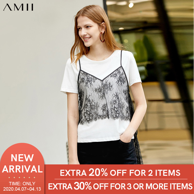 Amii Minimalist Lace Two-piece Set Summer Women Solid Slim T-shirt V-neck Lace Tops Female Suit 11970173