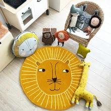 Tapetes do jogo do bebê rastejando tapete do quarto dos miúdos tapetes redondos dos desenhos animados coelho leão algodão almofada playmat crianças decoração do quarto