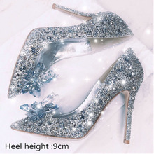 2020 new crystal high heel shoes bridal shoes wedding photo high heel woman pointed toe thin heel water diamond single shoes wedding shoes white diamond crystal pearl high heel waterproof table adult shoes wedding shoes bridal shoes