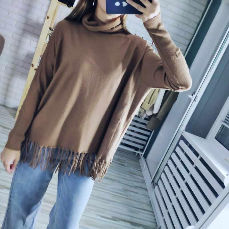 판매 플러스 사이즈 봄 가을 솔리드 컬러 니트 풀오버 대형 오버 사이즈 스웨터 여성 루스 점퍼 판초 sudaderas C-149
