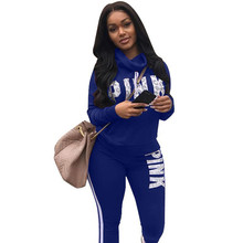 Winter 2 pieces pink letter outfits long sleeve sweatsuit fashion streetwear two pieces women set DLD8032 cheap PLSIF REGULAR O-Neck Full Full Length Ankle-Length Casual Print Hollow Out