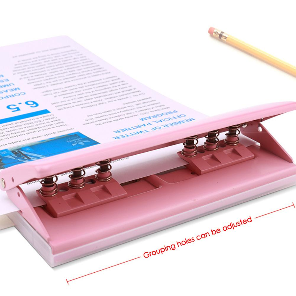 KW-TRIO 6 Hole Punch Loose-Leaf Puncher Paper Adjustable Stapler