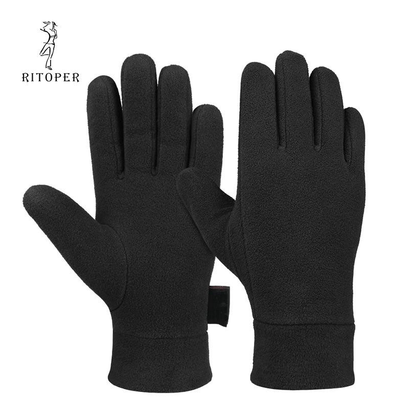 RITOPER Winter Fleece Gloves Thicken Windproof Warm Glove Soft Velvet Outdoor Man's  Women Full Finger Glove Sport Ski Cycling