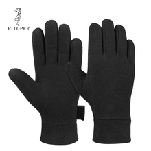 RITOPER Winter Fleece Gloves Thicken Windproof Warm Glove Soft Velvet Outdoor Man's  Women Full Finger Glove Sport Ski Cycling