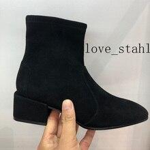 Женские ботинки из овечьей замши, эластичные ботинки на высоком каблуке, 2019