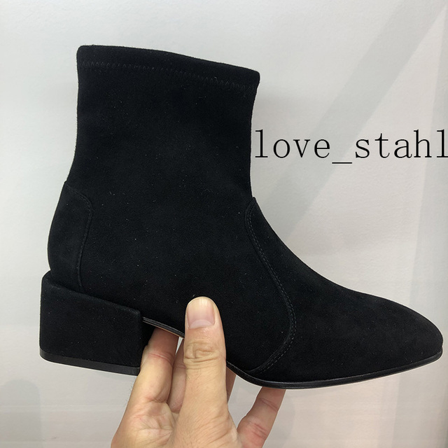 2019 lovestahl delle donne di alta qualità in pelle di Pecora in pelle scamosciata cuciture di seta stretch stivaletti tacco alto set delle donne del piede stivali