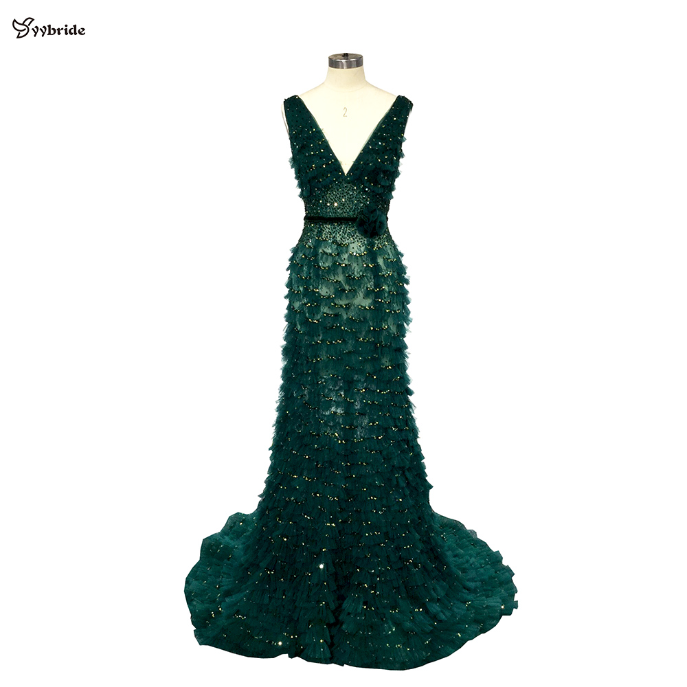 YYbride New Dark Green Dresses V-neck And Backless Mermaid Prom Dresses Beading Crystals Tulle Squama Floor Length Evening Dress