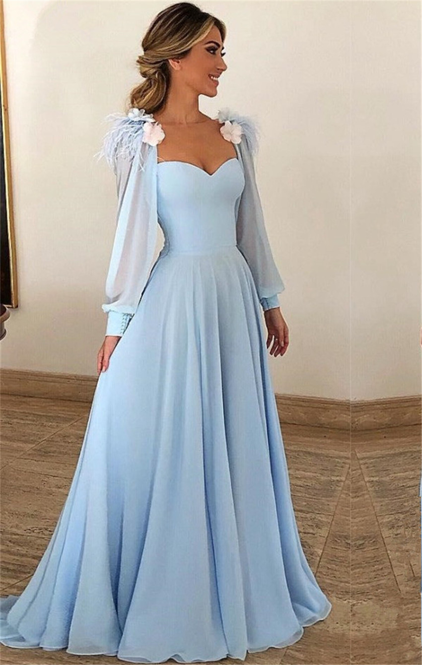 Evening     Dress   Sky Blue Chiffon Sweetheart Long Sleeve Floor-Length Sexy Gowns Formal Party   Dress     Evening   Gowns