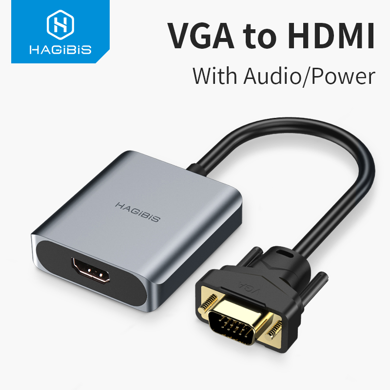 Hagibis VGA to HDMI adapter With 3 5mm AUX Audio Jack 1080P Male to Female Converter for PC Laptop HDTV Projector Video  cable