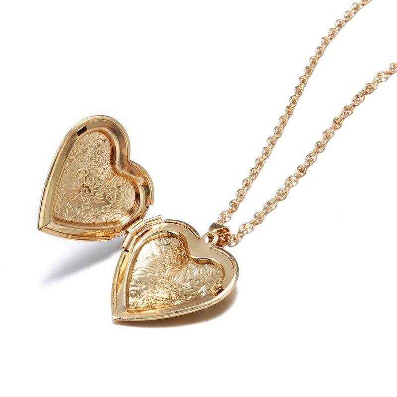 Spiel-Rechts Romantische Herz Anhänger Foto Rahmen Halsketten für Frauen Geschenke Öffnende Liebe Anhänger Halskette Andenken Schmuck CN050
