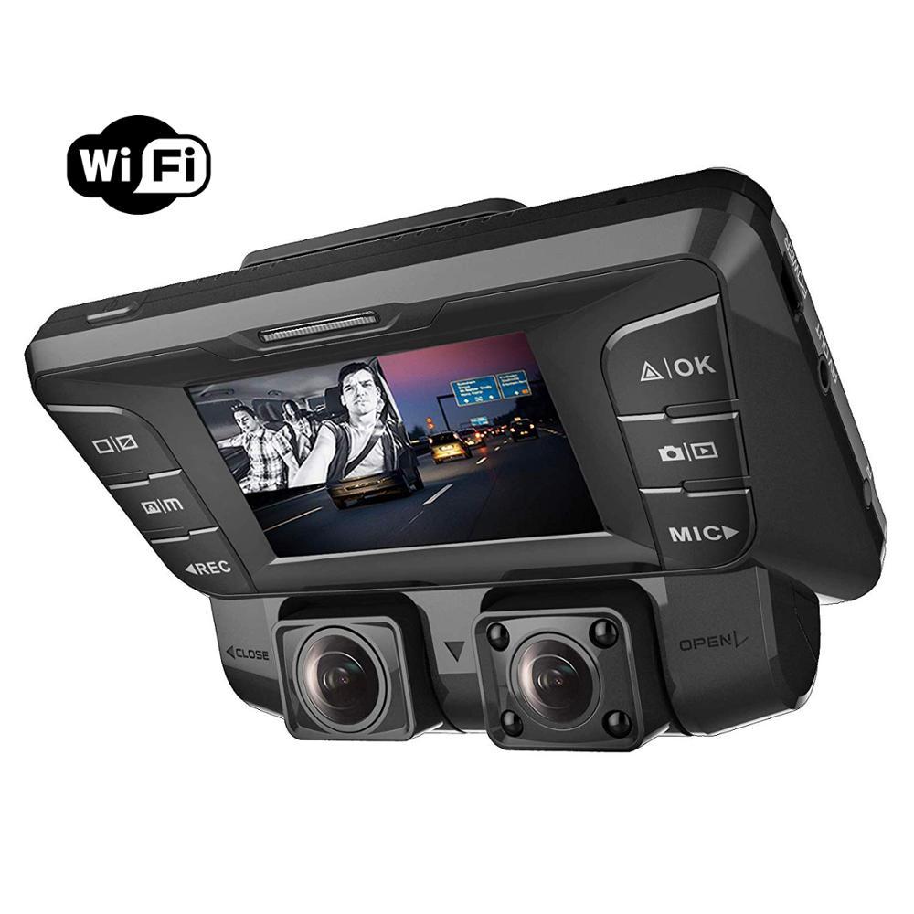 Kamera na deskę rozdzielczą Pruveeo z widzenie nocne z wykorzystaniem podczerwieni, wbudowany WiFi 4K Dual 1080P z przodu iz wewnątrz, kamera na deskę rozdzielczą era dla samochodów ciężarowych Taxi