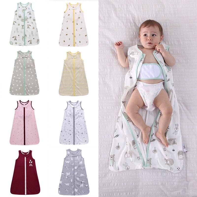 Baby Sleeping Bag Cotton Wearable Swaddle Blanket Sleeveless Zipper Newborn Sleepsack Fits Toddlers Age 0-18 Months Baby Bedding